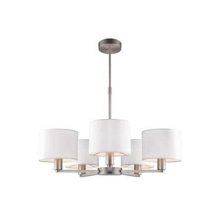 Daley 5 Light Multi Arm Pendant in Nickel C/W White Shades