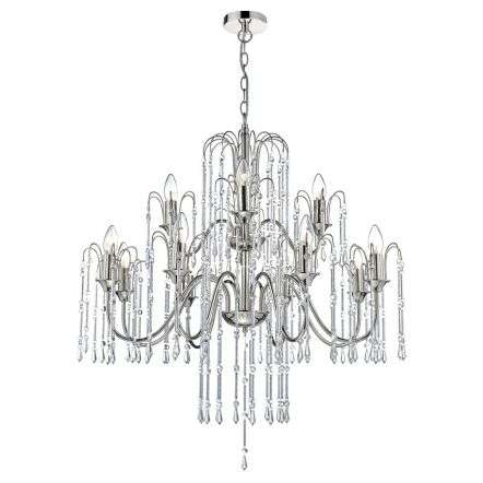 Daniella 12 Light Pendant Polished Nickel Chrome Rods Crystal Beads