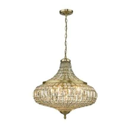 Dar Lighting ASM0675 Asmara 6 Light Pendant Antique Brass Crystal