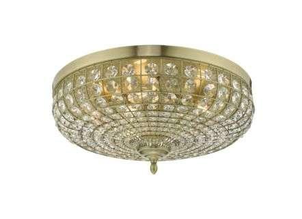 Dar Lighting ASM5475 Asmara 5 Light Flush Antique Brass Crystal