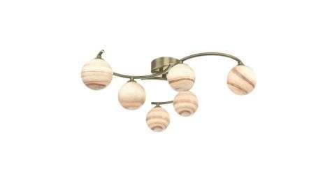 Dar Lighting ATI6475-07 Atiya 6 Light Semi Flush Ceiling Light Antique Brass With Planet Art Glass