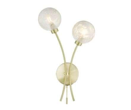 Dar Lighting AVA0941 Avari 2 Light Wall Light Satin Brass Glass