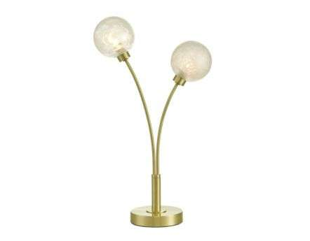 Dar Lighting AVA4241 Avari 2 Light Table Lamp Satin Brass Glass