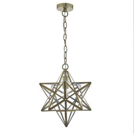 Dar Lighting ILA8675 Ilario 1 Light Star Pendant Large Antique Brass