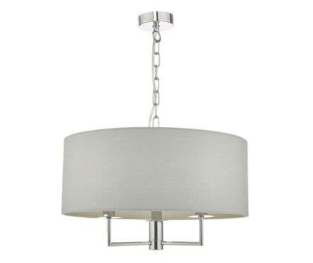 Dar Lighting JAM0339 Jamelia 3 Light Pendant Polished Chrome & Grey