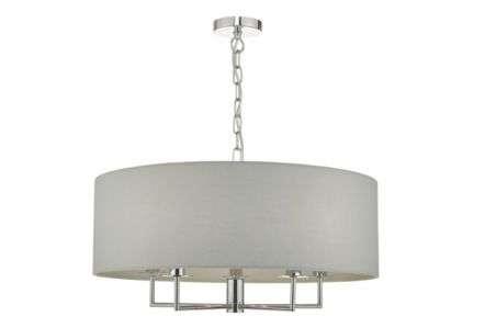 Dar Lighting JAM0539 Jamelia 5 Light Pendant Polished Chrome & Grey