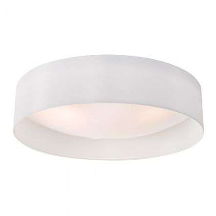 Dar Lighting NYS482 Nysa 3 Light Flush White Faux Silk 60cm