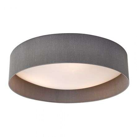 Dar Lighting NYS4839 Nysa 3 Light Flush Grey Faux Silk 60cm