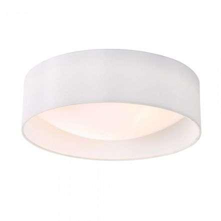 Dar Lighting NYS502 Nysa 2 Light Flush White Faux Silk 40cm