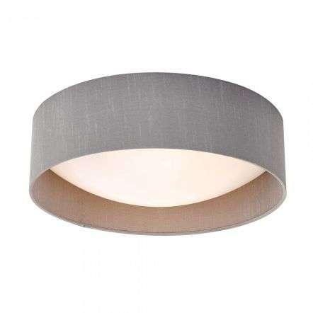 Dar Lighting NYS5039 Nysa 2 Light Flush Grey Faux Silk 40cm