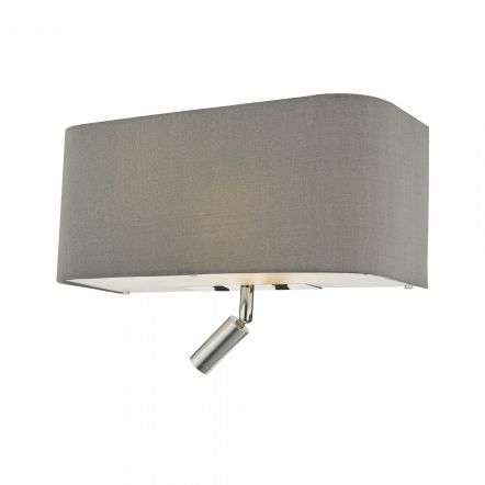 Dar Lighting RON7139L Ronda 3 Light Wall Light Grey With LED Reading Light