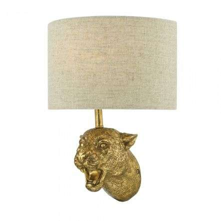 Dar Lighting RUR0735 Ruri Leopard Wall Light Gold C/W Natural Linen Shade