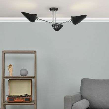 Dar Lighting SEB0322 Sebastian 3 Light Semi Flush Matt Black Polished Chrome
