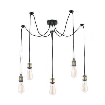 Dar Lighting WAC0575 Waco 5 Light Pendant Antique Brass Matt Black