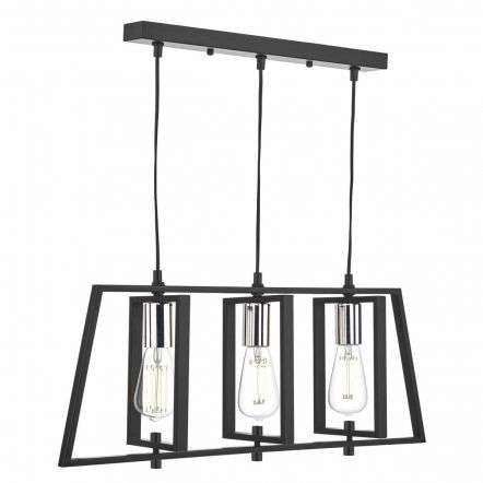 Dax 3 Light Bar Pendant Black & Polished Chrome