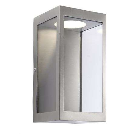 Dean Outdoor Wall Lantern in Brushed Stainless Steel H:224mm