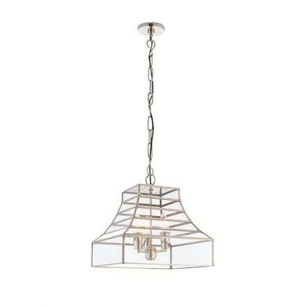 Dempsey 3 Light Pendant in Polished Stainless Steel & Clear Glass
