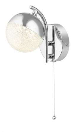 Dew 1 Light Bathroom Wall Light Polished Chrome IP44