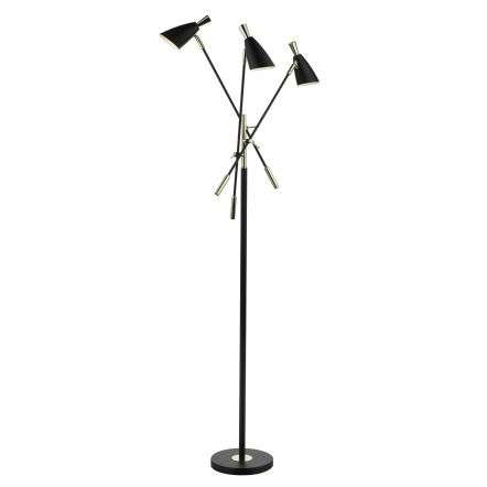 Diego 3 Light Floor Lamp Matt Black & Gold
