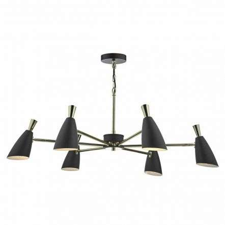 Diego 6 Light Pendant Black and Gold