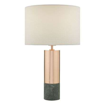 Digby Table Lamp Copper & Green With Shade
