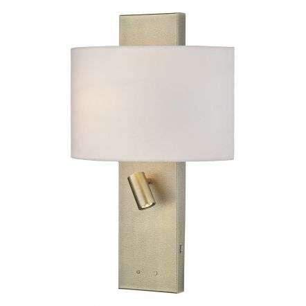Dijon Wall Light in Aged Brass C/W Shade & LED Reading Light