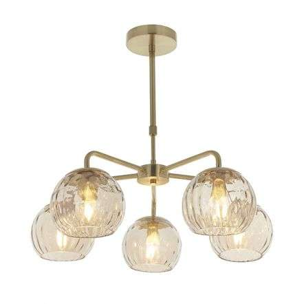 Dimple 5 Light Semi-Flush Fitting in Brushed Brass