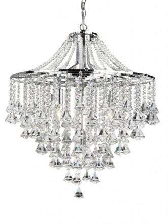 Dorchester - 5  Light Ceiling, Chrome With Clear Crystal Buttons & Pyramid Drops