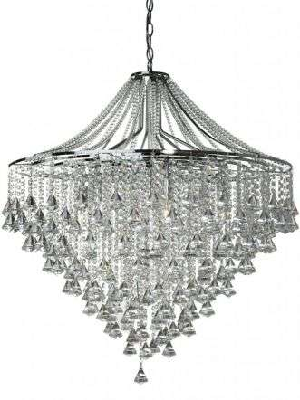 Dorchester - 7  Light Ceiling, Chrome With Clear Crystal Buttons & Pyramid Drops