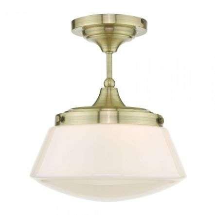 DÄR LIGHTING CAD0175 Caden Semi Flush Antique Brass Opal Glass IP44