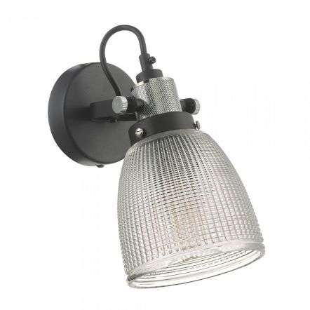 d�r lighting Ismet Wall Light Black Polished Chrome And Textured Glass ISM0722