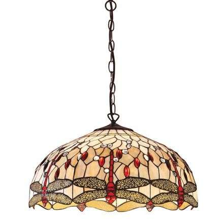 Dragonfly Beige Large 3 Light Pendant 60W