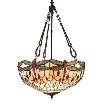 Dragonfly Beige Large Inverted 3 Light Pendant 60W