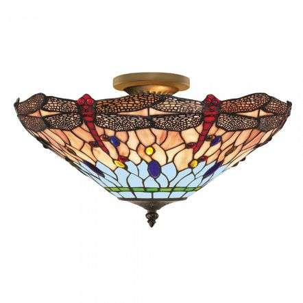 Dragonfly Tiffany Flush Light Antique Brass