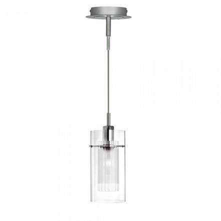 Duo Single Pendant Clear Double Glass Cylinder