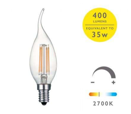 E14 LED DIM LAMP 4W 400LM CDV CNDL CLEAR