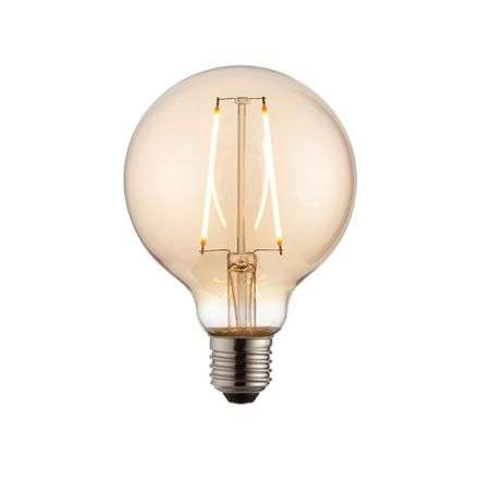 E27 LED Globe 95mm Amber Glass 2W Warm White