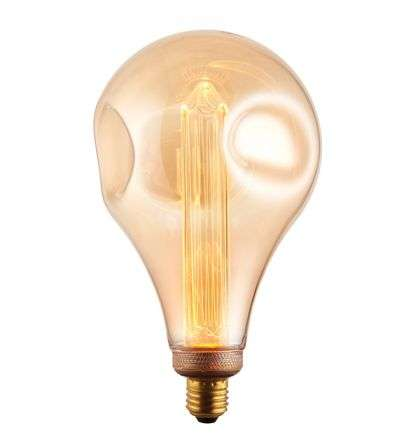E27 LED XL Dimple Globe Amber Glass 2.5W Warm White
