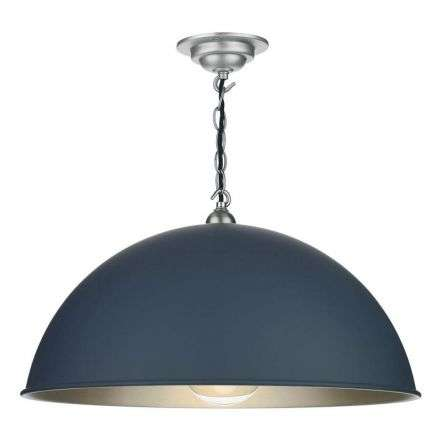 Ealing Large Smoke Blue with Brushed Chrome Pendant