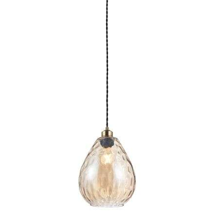 Eileen Non Electric 60W Pendant Cognac Rippled Glass