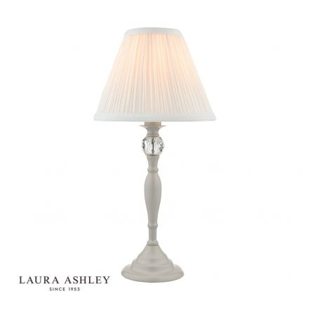Ellis Grey Satin-Painted Spindle Table Lamp with Ivory Shade