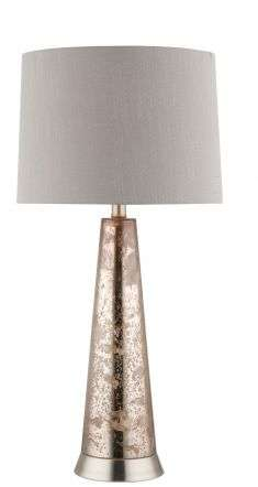 Ember Copper Effect Glass Table Lamp c/w Shade