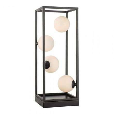 Ensio 4 Light Table Lamp Matt Black & Opal Glass