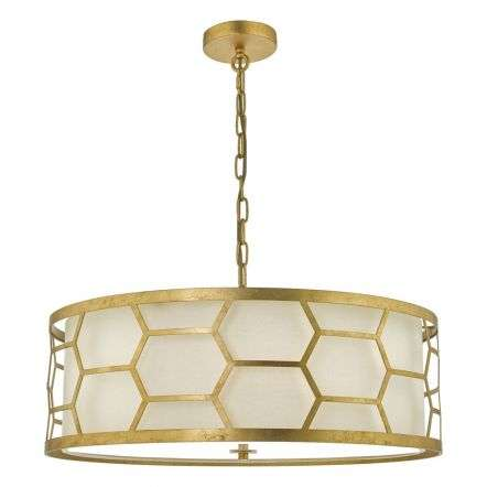 Epstein 4 light Pendant Gold with Ivory Shade