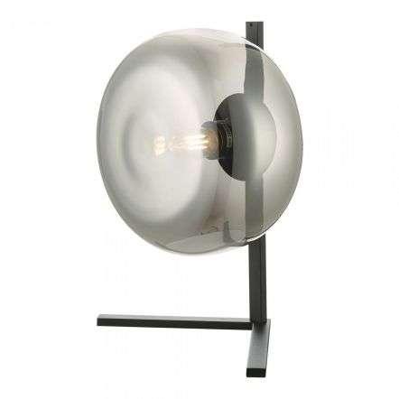 Erla Table Lamp Smoked Glass And Matt Black