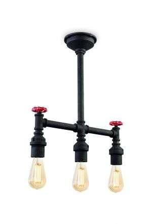 Factory 3 Light Semi Flush Fitting in Rustic Black