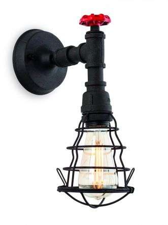 Factory Single Wall Light in Rustic Black Finish