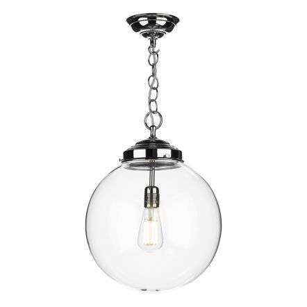 Fairfax Polished Chrome Pendant Mouthblown Clear Glass