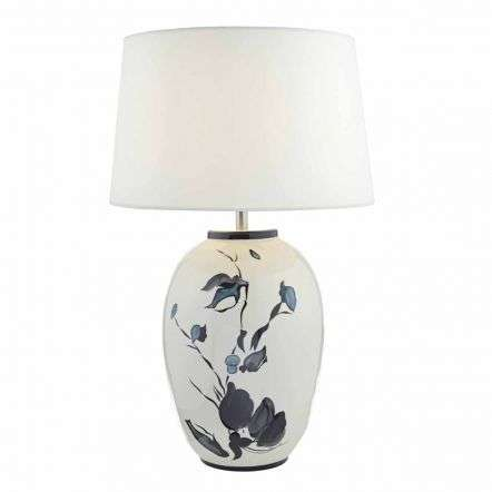 Fionn Table Lamp White & Painted Detail C/W White Linen Shade