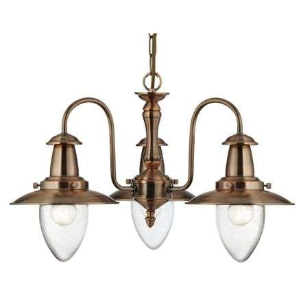 Fisherman Copper 3 Light Searchlight Ceiling Light with Glass Shade